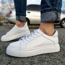 Кеды женские белые кожаные 0101