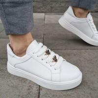 Кеды женские белые кожаные 0102