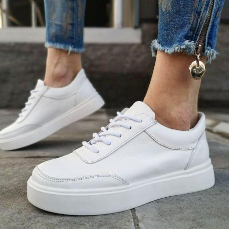 Кеды  белые женские кожаные 0104
