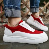 Кеды женские белые кожаные с красными замшевыми вставками 0109