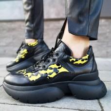 Кроссовки женские черные кожаные со вставками 0113
