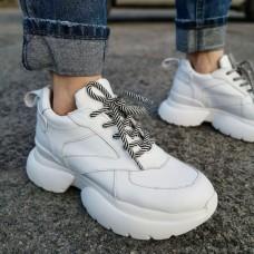 Кроссовки женские белые кожаные 0114