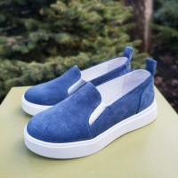 Слипоны женские синие замшевые 0116