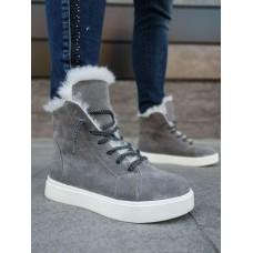 Ботинки зимние женские серые замшевые на меху 0118