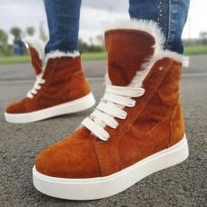Ботинки зимние женские рыжие замшевые на меху 0119
