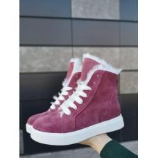 Ботинки зимние женские розовые замшевые на меху 0120