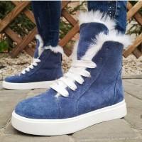 Ботинки зимние женские синие замшевые на меху 0121
