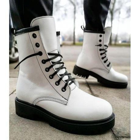 Ботинки зимние высокие женские белые кожаные на меху 0130