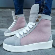 Ботинки зимние женские серо-розовые замшевые на меху 0134
