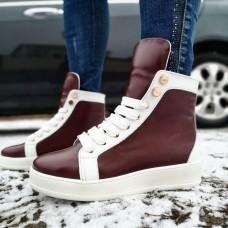 Ботинки зимние женские бело-бордовые кожаные на меху 0135