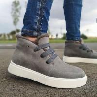 Ботинки зимние низкие женские серые замшевые на меху 0137
