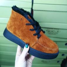 Ботинки зимние низкие женские рыжие замшевые на меху 0139