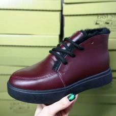 Ботинки зимние низкие женские бордовые кожаные на меху 0143