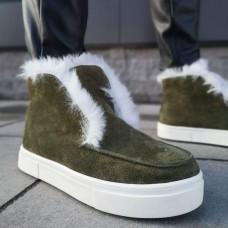 Ботинки зимние низкие женские цвета Хаки замшевые на меху 0146