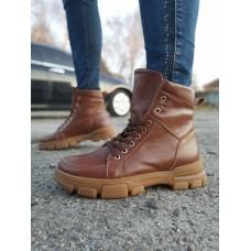 Ботинки зимние женские коричневые кожаные на меху 0147