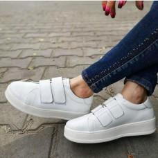 Кеды  на липучках женские белые кожаные 0153