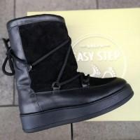 Луноходы зимние женские черные кожаные с замшевыми вставками на меху 0164