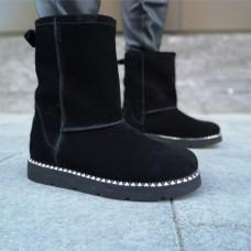 Угги зимние женские черные замшевые на меху 0169