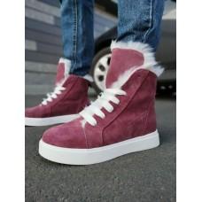 Ботинки зимние женские розовые  замшевые на овчине 0172