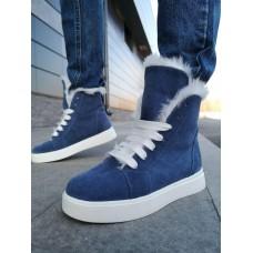 Ботинки зимние женские синие замшевые на овчине 0173