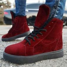 Ботинки зимние женские бордовые замшевые на овчине 0175