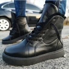 Ботинки зимние женские черные кожаные на овчине 0176