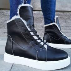 Ботинки зимние женские черные кожаные на овчине 0178