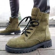 Ботинки зимние женские цвета Хаки замшевые на овчине 0179