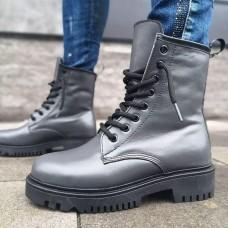 Ботинки зимние высокие женские темно-серые кожаные на овчине 0181