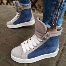 Ботинки зимние женские серо-голубые замшевые на овчине 0185