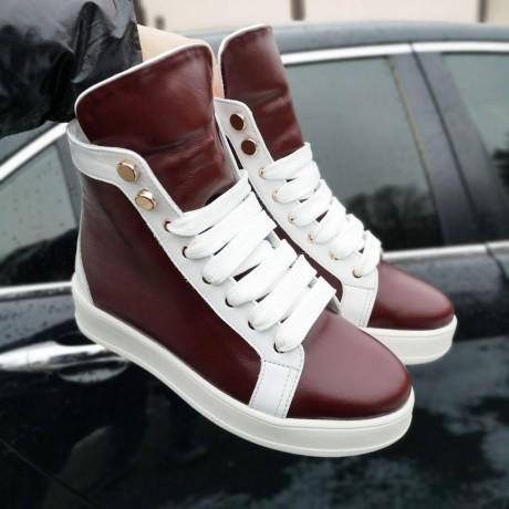 Ботинки зимние женские бело-бордовые кожаные на овчине 0187
