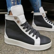 Ботинки зимние женские бело-серые кожаные на овчине 0188