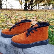 Ботинки зимние низкие женские рыжие замшевые на овчине 0191
