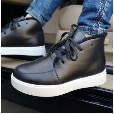 Ботинки зимние низкие женские черные кожаные на овчине 0192
