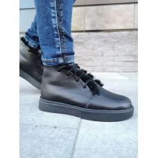 Ботинки зимние низкие женские черные кожаные на овчине 0193