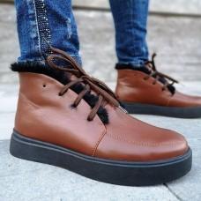 Ботинки зимние низкие женские коричневые кожаные на овчине 0194