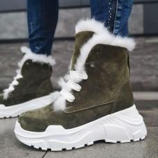 Ботинки зимние женские цвета Хаки замшевые на овчине 0197