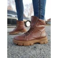Ботинки зимние женские коричневые кожаные на овчине 0199