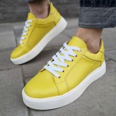 Кеды женские желтые кожаные 0202