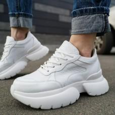 """Кроссовки женские белые кожаные со вставками """"Питон"""" 0204"""