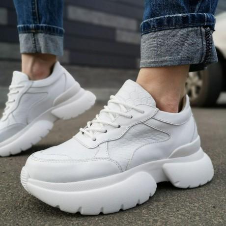 """Кроссовки женские белые кожаные со вставками """"Питон"""" 0204 (образец)"""