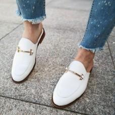 Мюли женские белые кожаные 0221