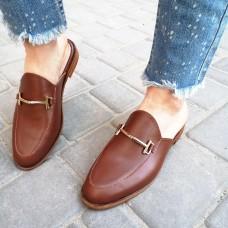 Мюли женские коричневые кожаные 0222