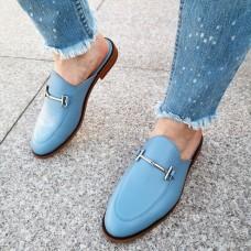 Мюли женские голубые кожаные 0225