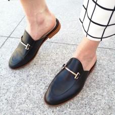 Мюли женские черные кожаные 0226