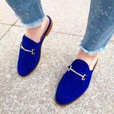 Мюли женские синие замшевые 0227