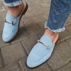 Мюли женские голубые замшевые 0228