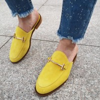 Мюли женские желтые замшевые 0229