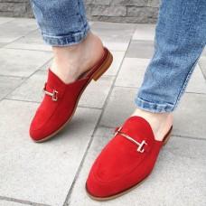 Мюли женские красные замшевые 0230