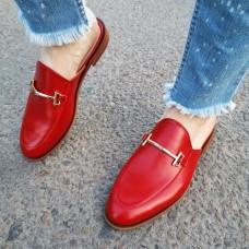 Мюли женские красные кожаные 0231